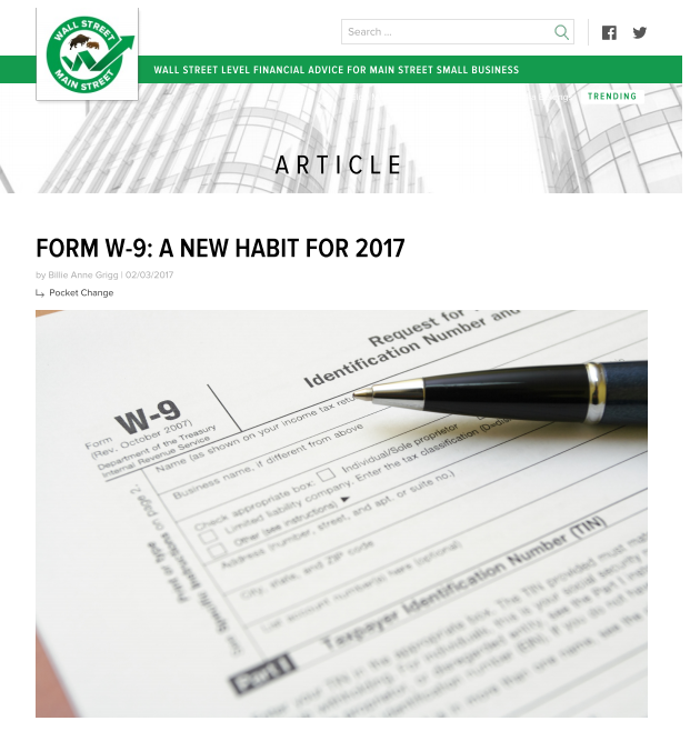 Form W 9 A New Habit For 2017 Pocket Protector Bookkeeping